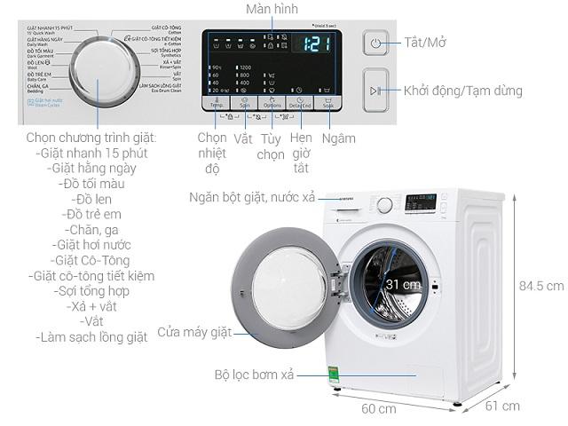 Kích thước máy giặt cửa ngang Samsung